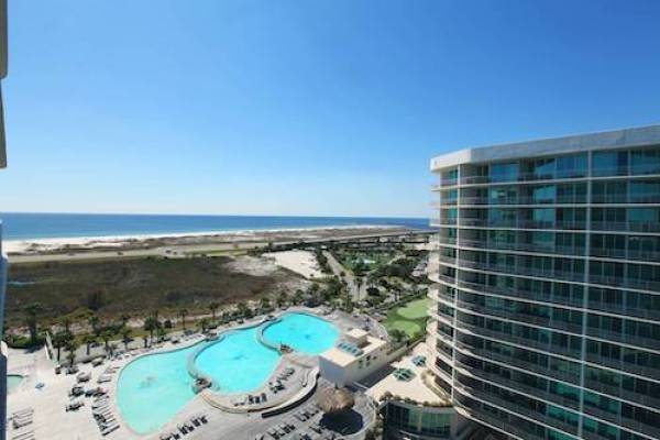 view of the Gulf of mexico from Caribe vacation rental condo in Orange Beach