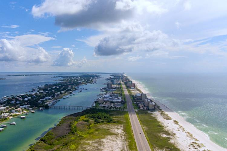 aerial view of Orange Beach Alabama with the waterway and gulf of mexico in sight